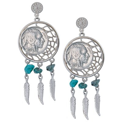 American Coin Treasures Dream Catcher Buffalo Nickel Post Earrings