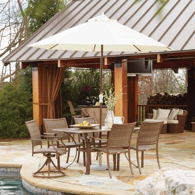 Panama Jack Outdoor Island Cove 7 Piece Dining Set with Umbrella