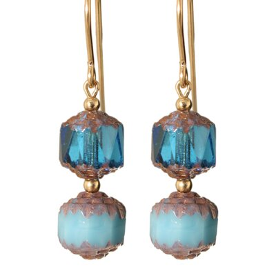 Belle Verre Bleu Cathedral 14 Kt Goldfilled Earrings
