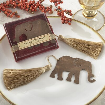 Kate Aspen ''Lucky Elephant'' Bookmark with Elegant Gold Silk Tassel