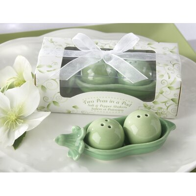 Kate Aspen Two Peas in a Pod Ceramic Salt and Pepper Shakers in Ivy Leaf Print Box