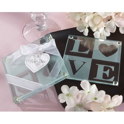 "Kate Aspen ""Clearly in Love"" Love Glass Coaster (Set of 2)"