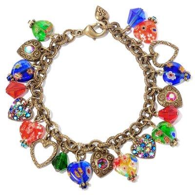 Candy Glass Hearts Charm Bracelet