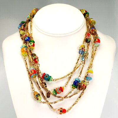 Continous Candy Glass Rope Necklace