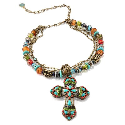 Mayan Cross Crystal Necklace