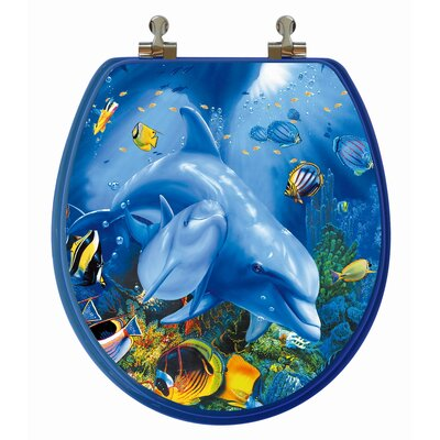 3D Ocean Series Dolphin Mother and Calf Round Toilet Seat