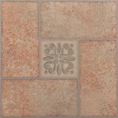 "Achim Importing Co Nexus 12"" x 12"" Vinyl Tile in Beige Terracotta with Motif Center"