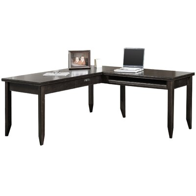 Tribeca Loft Midnight Smoke Black L-Shaped Writing Desk