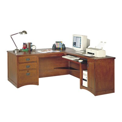 Hardwood Computer Desk for Right Hand Facing Keyboard Return