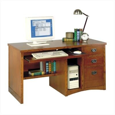 Wood Single Pedestal Computer Desk