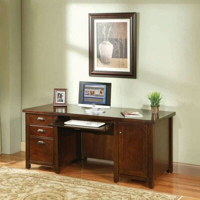Tribeca Loft Cherry Double Pedestal Computer Desk