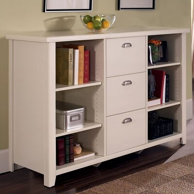 "kathy ireland Home by Martin Furniture Tribeca Loft 41"" H White Three-Drawer File/Bookcase"