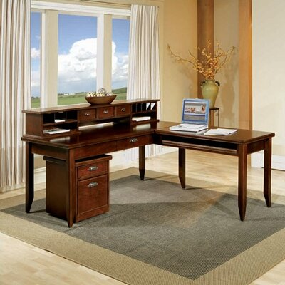 Tribeca Loft Cherry Writing Table and Hutch Set