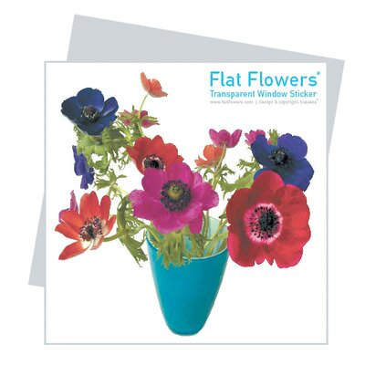 Oots Flat Flowers Window Stickers Originals in Anemone Blue