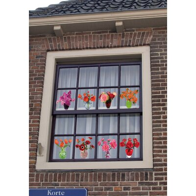 Oots Flat Flowers Window Stickers Originals in Anemone Pink