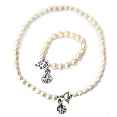 Cultured Pearl Lollipop Charm Necklace and Bracelet Set