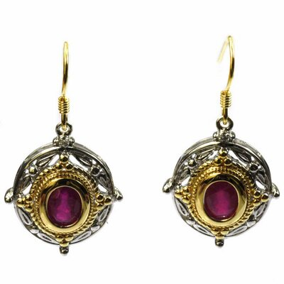 Oval Cut Ruby and Diamond Drop Earrings