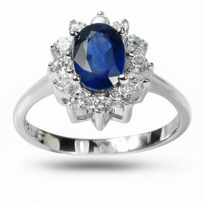 Sterling Silver Oval Cut Sapphire and Cubic Zirconia Ring