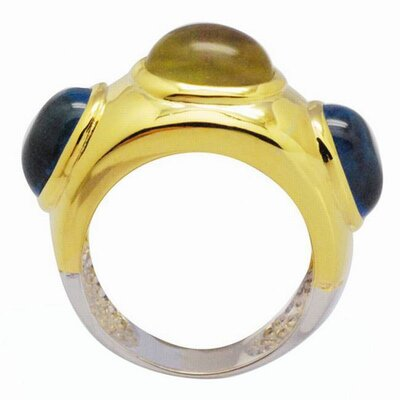 DeBuman 18K Gold and Sterling Silver Oval Gemstone Ring