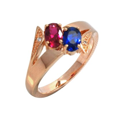 Sterling Silver Created Gemstone and Cubic Zirconia Ring