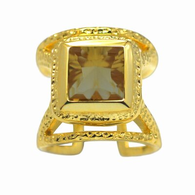 DeBuman Gold over Silver Oval Cut Genuine Gemstone Ring