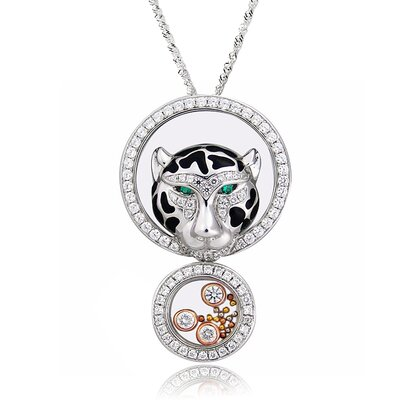 Sterling Silver Cubic Zirconia and Crystal Leopard Head Necklace