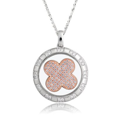 Sterling Silver Cubic Zirconia and Crystal Pinwheel Necklace