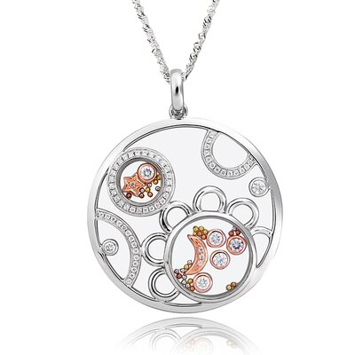 Sterling Silver Cubic Zirconia and Crystal Moon and Star Necklace