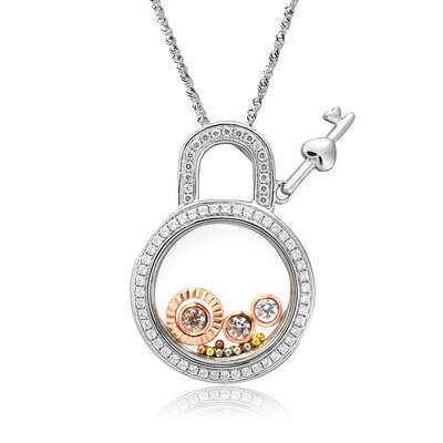 Sterling Silver Cubic Zirconia and Crystal Lock with Key Necklace