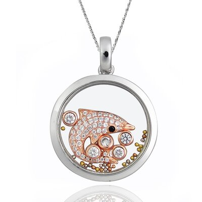 Sterling Silver Cubic Zirconia and Crystal Dolphin Necklace