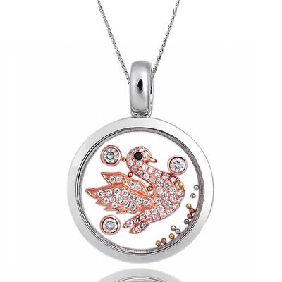 Sterling Silver Cubic Zirconia and Crystal Swan Necklace
