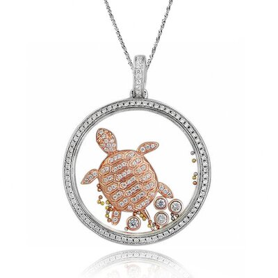 Sterling Silver Cubic Zirconia and Crystal Turtle Necklace