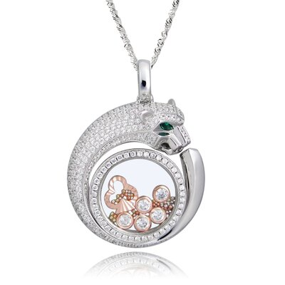 Sterling Silver Cubic Zirconia and Crystal Leopard Necklace