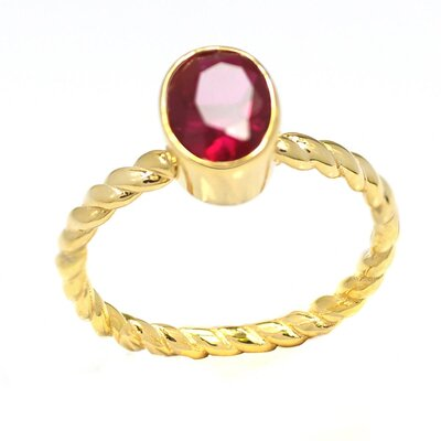 Gold Over Sterling Silver Oval Birthstone Ring
