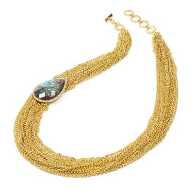 Gold Tone Brass Tear in Galaxy Necklace