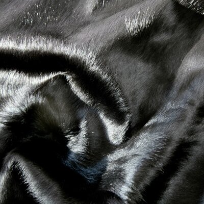 Pure Rugs Natural Cowhide Solid Black Rug