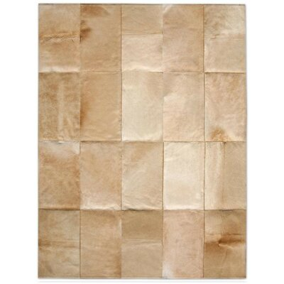 Pure Rugs Patchwork Cowhide Mies Wheat Rug