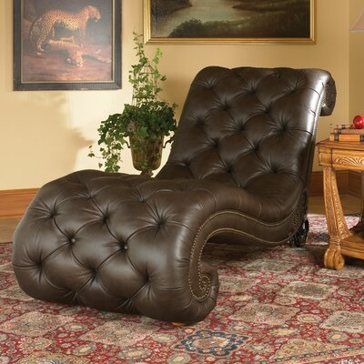 Michael Amini Trevi Leather Chaise Lounge