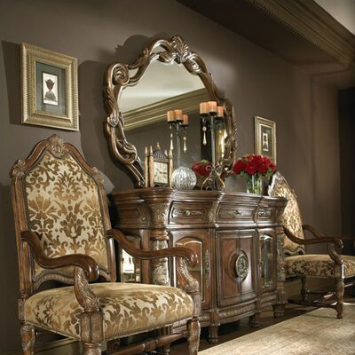 Villa Valencia Sideboard and Mirror Set in Classic Chestnut