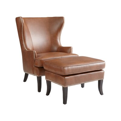 Sunpan Modern Royalton Bonded Leather Armchair and Ottoman
