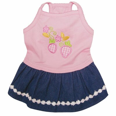 Adorable Dog Sundress with Embroidered Strawberries and Denim Skirt