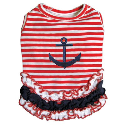 Cute and Stripy Dog Sailor Shirt with Ruffles