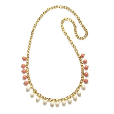Amanda Rudey Timeless Beauty Crystal Coral Pearl and Crystal Pearl Blake Necklace