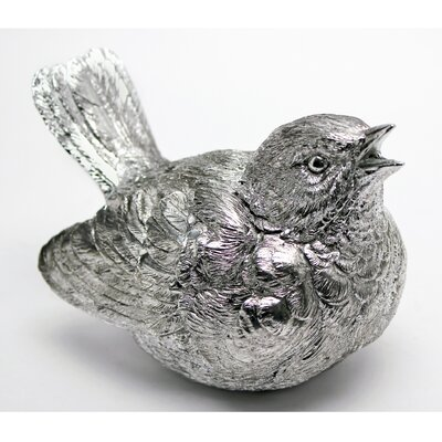 Vita V Home Silver Bird with Beak Open Resin Statue