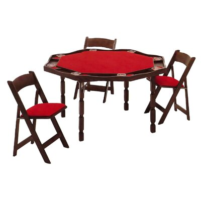 "Kestell Furniture 57"" Maple Period Style Folding Poker Table Set"