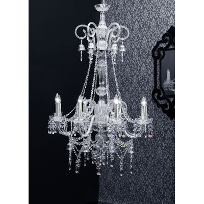 Cristalstrass Murano & Crystal Arabesque 8 Light Crystal Chandelier