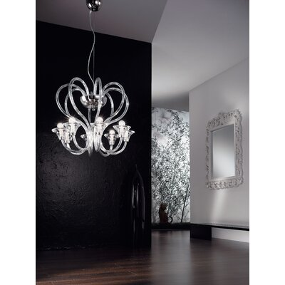 Cristalstrass Murano & Crystal Babylon 8 Light Crystal Chandelier