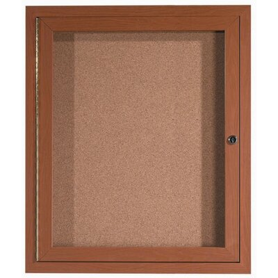 AARCO Enclosed Aluminum Bulletin Board with Wood Look Finish