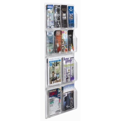 AARCO Clear-Vu 12 Pocket Combination Pamphlet and Magazine Display