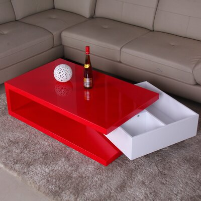 Fox Hill Trading Glossy Functional Coffee Table with Storage